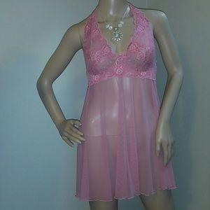 Victoria's Secret Pink Negligee Sz m Halter